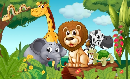Photo for Illustration of a forest with a group of animals - Royalty Free Image