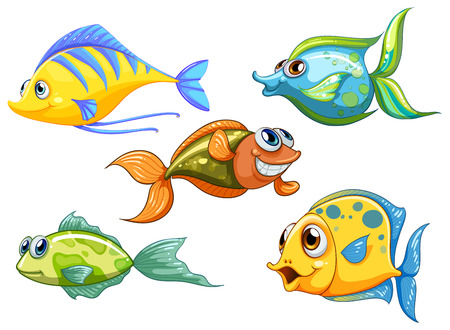 Illustration for Illustration of the five colorful fishes on a white background - Royalty Free Image