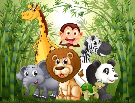 Illustration pour Illustration of a bamboo forest with many animals - image libre de droit