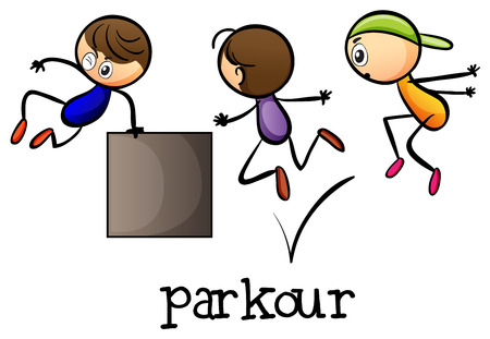 Illustration for Illustration of the stickmen playing parkour on a white background - Royalty Free Image