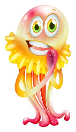Ilustración de Illustration of a colorful jellyfish on a white background - Imagen libre de derechos