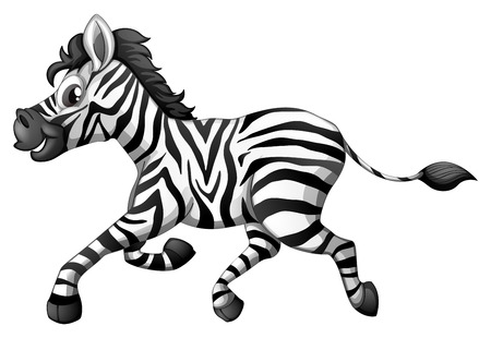 Illustration pour Illustration of a zebra running on a white background - image libre de droit