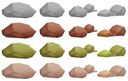 Illustration pour Illustration of the different rocks on a white background - image libre de droit