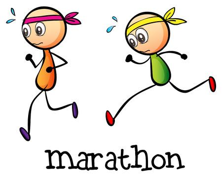 Ilustración de Illustration of a marathon between two stickmen on a white background - Imagen libre de derechos