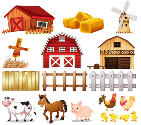 Illustration pour Illustration of the things and animals found at the farm on a white background - image libre de droit