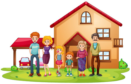 Illustration for Illustration of a big family in front of a big house on a white background - Royalty Free Image