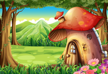 Illustration for Illustration of a forest with a mushroom house - Royalty Free Image