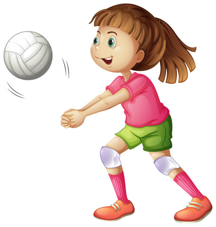 Illustration of a young volleyball player on a white background