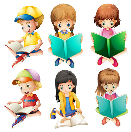 Illustration for Illustration of the kids reading on a white background - Royalty Free Image