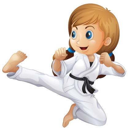 Ilustración de Illustration of a young girl doing karate on a white background - Imagen libre de derechos