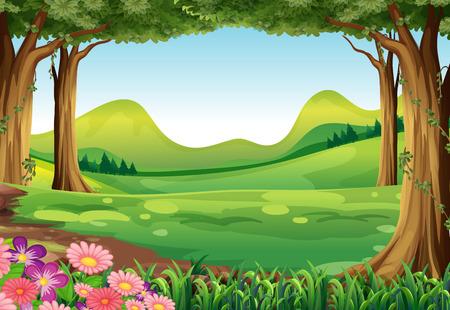 Illustration pour Illustration of a green forest - image libre de droit