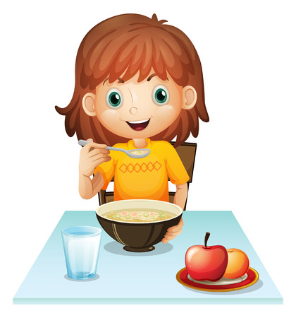 Illustration for Illustration of a little girl eating her breakfast on a white background - Royalty Free Image