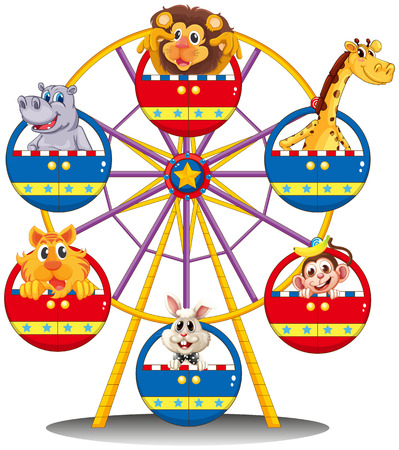 Illustration for Illustration of a carnival ride with animals on a white background - Royalty Free Image