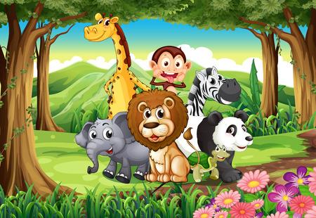 Photo pour Illustration of a forest with animals - image libre de droit