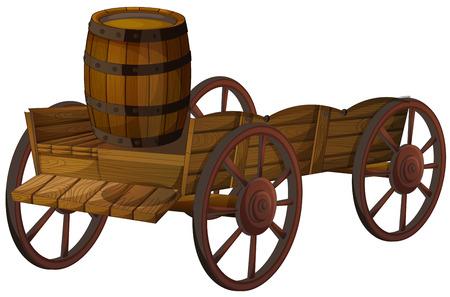 Illustration pour Illustration of a barrel on a wagon - image libre de droit