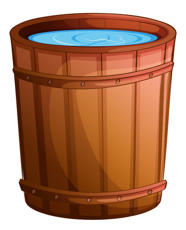 Illustration pour Illustration of a big bucket of water on a white background - image libre de droit