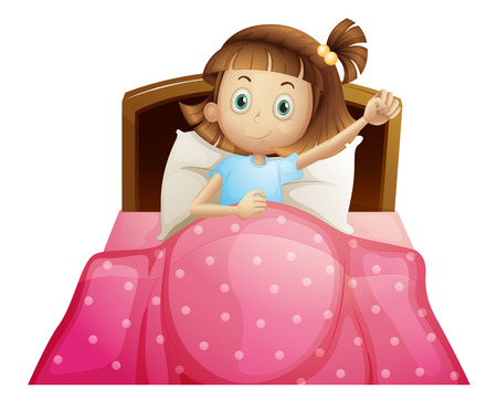 Illustration for Illustration of a girl in bed - Royalty Free Image