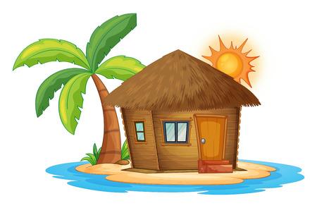 Ilustración de Illustration of a small nipa hut in the island on a white background - Imagen libre de derechos