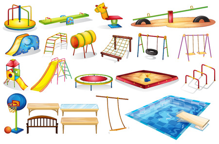 Illustration for Ilustration of a set of equipment in a playground - Royalty Free Image