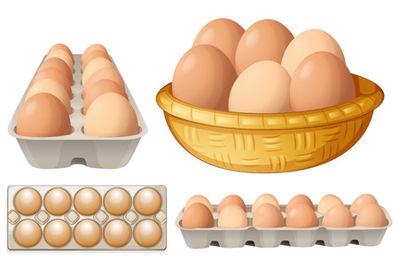 Illustration for Illustration of eggs in different containers - Royalty Free Image