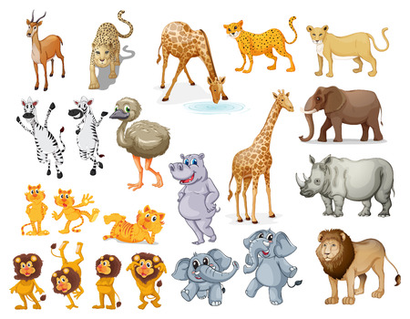 Illustration pour Illustration of many wild animals - image libre de droit