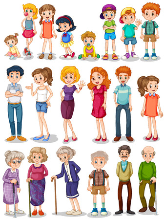 Photo pour Illustration of a set of family - image libre de droit