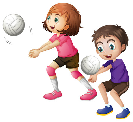 Illustration of the kids playing volleyball on a white background