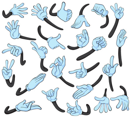 Illustrazione per Illustration of hand with different gestures - Immagini Royalty Free