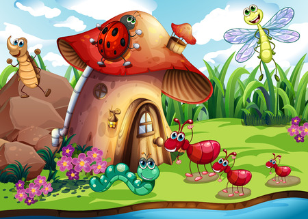 Illustration of many insects by the river