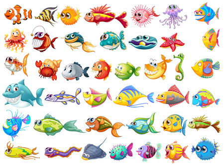 Illustration pour Illustration of may kinds of fish - image libre de droit