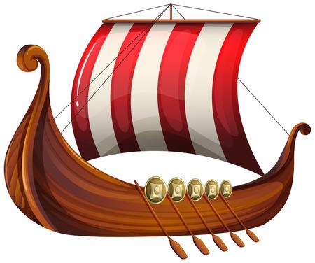 Illustration pour Illustration of a viking's ship on a white background - image libre de droit