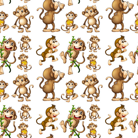 Illustration of a seamless monkey with bananas