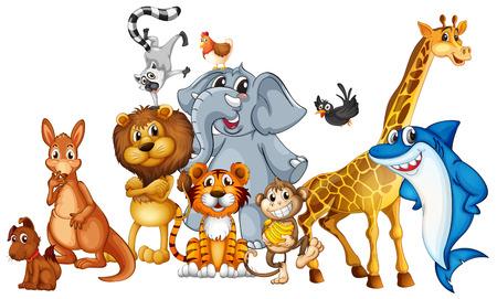 Photo pour Illustration of many animals standing - image libre de droit