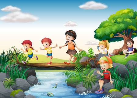 Illustration for Illustration of children crossing a stream - Royalty Free Image