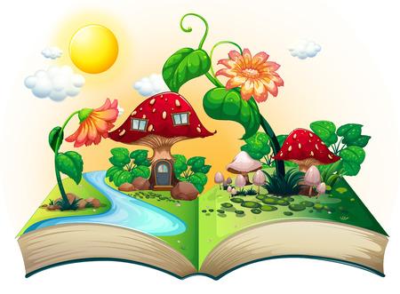 Illustration pour Illustration of a popup book with mushroom house - image libre de droit