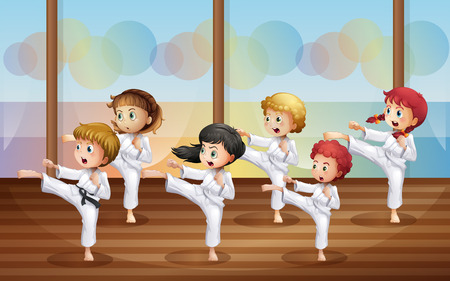 Illustration of the kids practicing karate