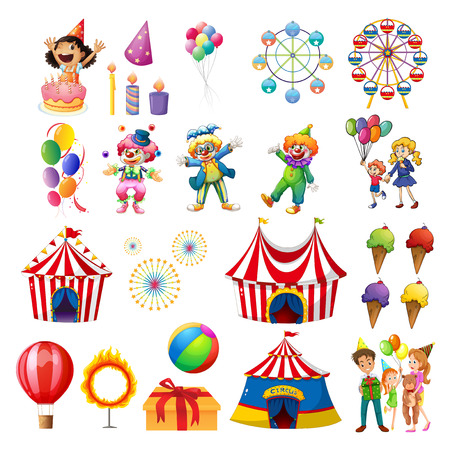 Illustration pour Illustration of the happiness at the carnival on a white background - image libre de droit