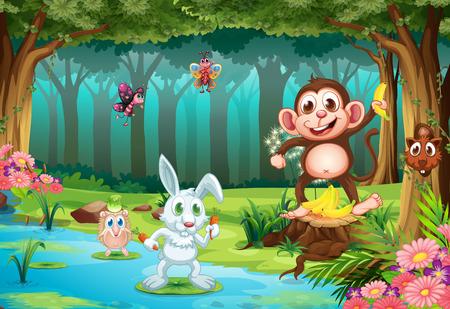 Illustration pour Illustration of many animals in a jungle - image libre de droit
