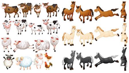 Ilustración de Illustraion of many type of farm animals - Imagen libre de derechos
