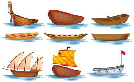 Ilustración de Illustration of different kind of boats - Imagen libre de derechos