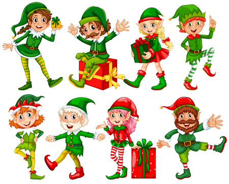 Illustration for Illustration of many elfs with presents - Royalty Free Image