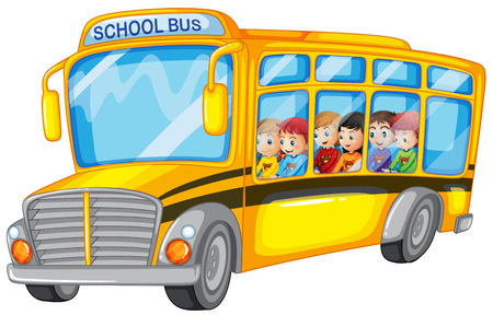 Illustration pour Illustration of many children on a school bus - image libre de droit