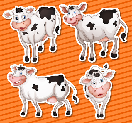 Illustration of many cows with background