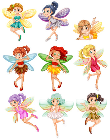 Illustration pour Illustration of many fairies flying - image libre de droit