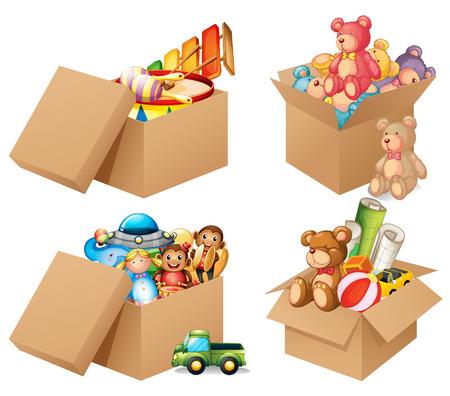 Illustration pour Illustration of four different box of toys - image libre de droit