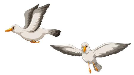 Illustration pour Illustration of two birds flying - image libre de droit