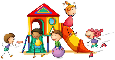 Illustration for illustration of children and a playhouse - Royalty Free Image