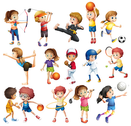 Ilustración de Kids playing various sports on white - Imagen libre de derechos