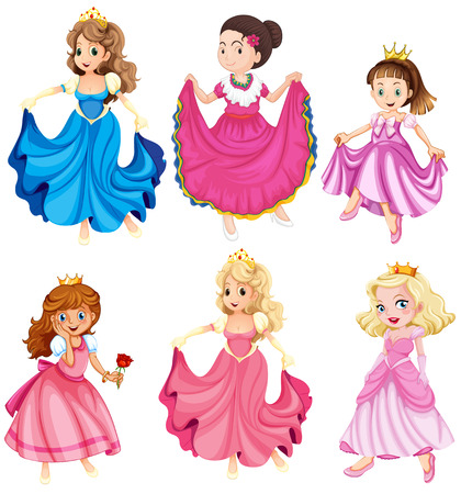 Illustration for Princesses and queens in gowns - Royalty Free Image