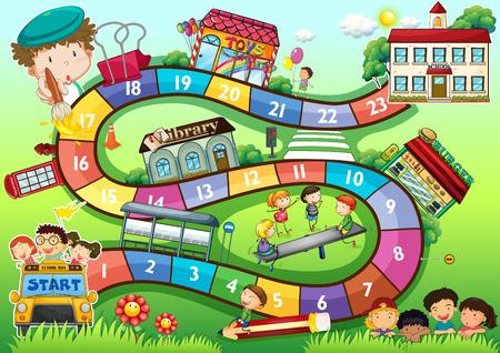Ilustración de Gameboard with a school kids theme - Imagen libre de derechos